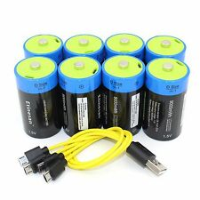 ETINESAN 8 X 9000mwh li-polymery  D  size rechargeable battery USB charging line