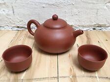 Cute Terra Cotta Clay Asian Ceremonial Little Teapot + 2 Tea Cups Sets Brand New