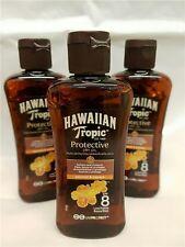 3 Bottles Hawaiian Tropic Protective Dry Sun Tan Oil SPF 8 Sunscreen 100ml Mini