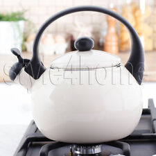 ENAMEL Stainless Steel WHISTLING Kettle 2.2L Electric Gas HOBS Stove Top CREAM