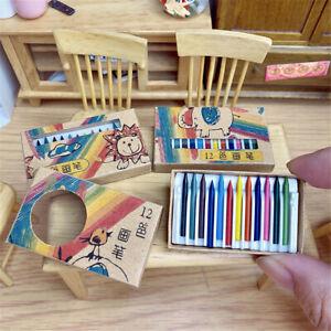 12Pcs/Set 1:12 Miniature Dollhouse Accessories Toys Mini Colour Crayon For Kids
