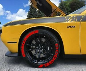 """Tire Lettering stickers Dodge Challenger Red 1.25"""" inch  16''-22'' 10 kits"""
