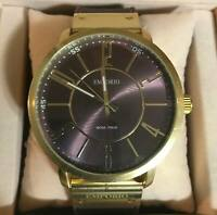 NEW! EMPORIO MODA ITALIA Men's LARGE Watch, Round Face, Gold Casing, Brown Band