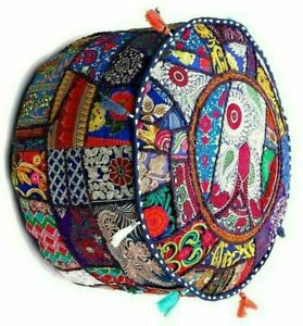 Indian Ottoman Pouf Cover Ethnic Footstool Cover Vintage Fabric Patches Boho New