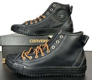 Converse Chuck Taylor Hollis Hi Black Leather Sneaker Boot 140161C 9.5 Men