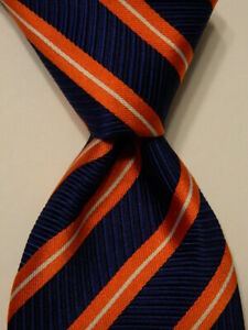 THOMAS PINK Mens 100% Silk Necktie MOROCCO Luxury STRIPED Blue/Orange PERFECT
