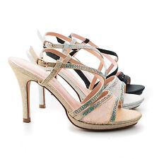 Marcie26 Lace & Rhinestone Studded Slingback Stiletto Dress Sandals