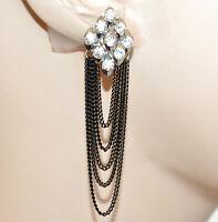 ORECCHINI CLIPS donna ARGENTO NERI fili pendenti cristalli eleganti PARTY CC193