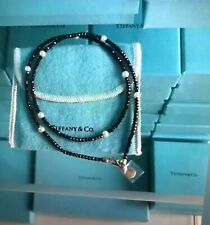 """Tiffany & Co. Ziegfeld Collection Black Spinel Perl Necklace Sterling Silver 20"""""""
