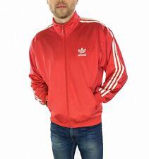 Men's años 90 Adidas Original Chaqueta de pista en rojo tamaño mediano (32/34)