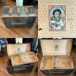 BEAUTIFUL Antique 1880's Dome Top Steamer Trunk