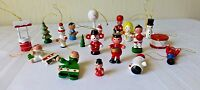 Vintage Miniature Christmas Ornaments Wooden Tree Drummer Mouse Angel Lot of 18