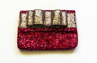 Clutch Purse, Red sequins, White glitter bow, zip close, Sparkly coolness!