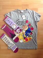 Disney Beauty And The Beast Belle Chip Tshirt Size uk 12 & 3 Socks, Primark
