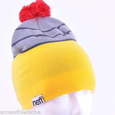 Neff Youth Boy's Plex Ski Snowboard Beanie Hat Yellow Red Grey Black, NEW O/S