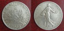 2 Francs  SEMEUSE - Louis-Oscar Roty  1908 - ARGENT