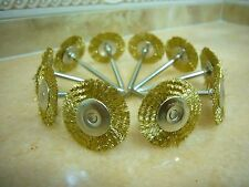10 pieces Brass Wire Rotary FLAT BRUSH Cups brushes 3mm shank