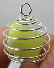 Tibet 100% Natural Tumbled Rough Yellow Serpentine In Spiral Cage Pendant