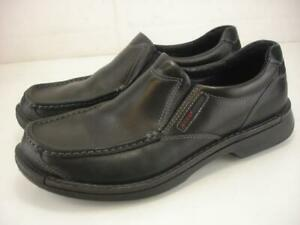 Men's 12 12.5 46 Ecco Fusion II Slip-On Black Leather Shoes Loafer Comfort Dress