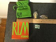 RLM Sterling & Brass Hammered Pendulum Earrings QVC (Q58)
