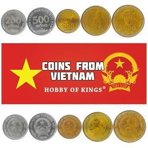 SET OF 5 COINS FROM VIETNAM. 200, 500, 1000, 2000, 5000 DONG. ASIAN MONEY 2003