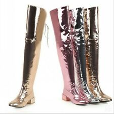 Women's Metallic Mirror Size 34-48 Over Knee Thigh High Boot Chunky Heels Shoes
