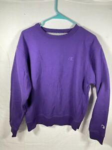 Purple Champion Men's Powerblend Fleece Crew, C Logo Pullover/Sweater