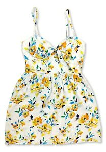 Womens Medium AUW Yellow Floral Sweetheart Padded Cups Dress Preowned