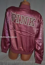 Victoria's Secret Pink Fashion Show Soft Begonia Satin Bomber Jacket S Top NEW