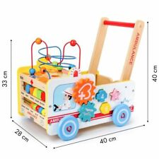 EcoToys Baby Laufwagen Lauflernwagen Baby Walker Gehfrei Lauflernhilfe Holz