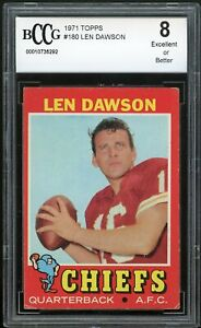 1971 Topps #180 Len Dawson Card BGS BCCG 8 Excellent+