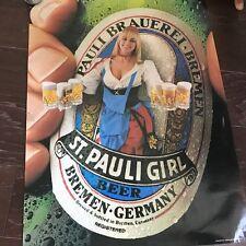 Vintage St Pauli Girl Beer Poster Bar Maid Wench Bremen Germany Blonde Advertise