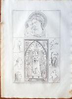 ✅Stampa incisione 1850-Madonna con Bambino di Puccio Capanna al.Giotto-Tav.CXVII