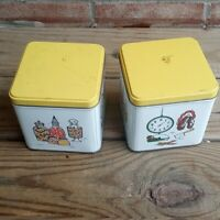 Vintage Tea  Canisters Yellow and White metal