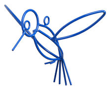BLUE HUMMINGBIRD Wrought Iron Garden Hanger Amish Handmade Lawn Wall Decor USA