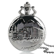 Antique Style The Truck Mens Necklace Retro Silver Vintage Pocket Watch Gift