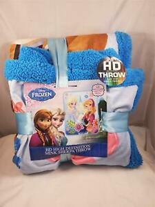 New 2015 Disney Frozen HD Mink Sherpa Throw Blanket Aqua Blue Anna Elsa 40x60