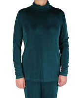 NWT Women's Green Slinky Turtle Neck Long Sleeve Top Made In USA S-2X Plus Size