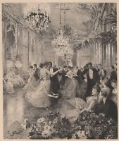Victor Gilbert La valse Danse Bal Gravure eau forte Henri Toussaint XIXe