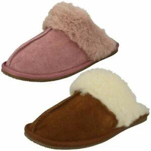Ladies Clarks Faux Fur Cuff Mule Slippers Warm Lux