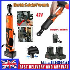42V 3/8'' 100Nm Electric Cordless Ratchet Right Angle Wrench LED + 2 Battery UK
