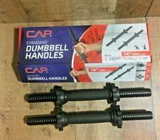 """CAP Standard Set Of 2  Dumbbell Handles 14"""" Threaded  NEW BOX WARE Dumbell"""