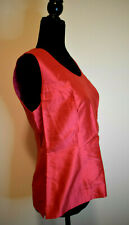 Paola Quadretti Red Silk Blouse Camisole Size 46 Made in Italy Sleeveless