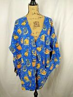 Womens Scrub Warm Up Jacket Size 2XL Blue Halloween Witchs Snap Front S1164