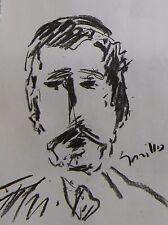 JOSE TRUJILLO MODERN EXPRESSIONIST ORIGINAL CHARCOAL DRAWING PORTRAIT HEAD MAN
