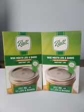 24 BALL Wide Mouth Lids and Rings Bands for Mason Jar Canning Lot  2 boxes