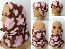 BROWN PINK COW SNOOD milkshake fleece neck warmer beanie scarf hat ski Ladies