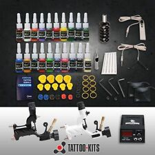 COMPLETE TATTOO KIT DE TATOUAGE 2 ROTARY MACHINE GUNS A TATOUER 20 Encre INK