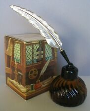 VINTAGE AVON INKWELL WINDJAMMER AFTER SHAVE FULL 6 FL.OZ.+ QUILL PEN & GOOD BOX