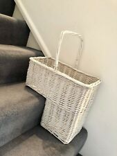 Unique White Wicker Staircase Basket Key Holder Shoe Storage Rattan Shabby Chic